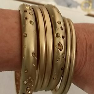 Gold Bangle Bracelets - 6 in set